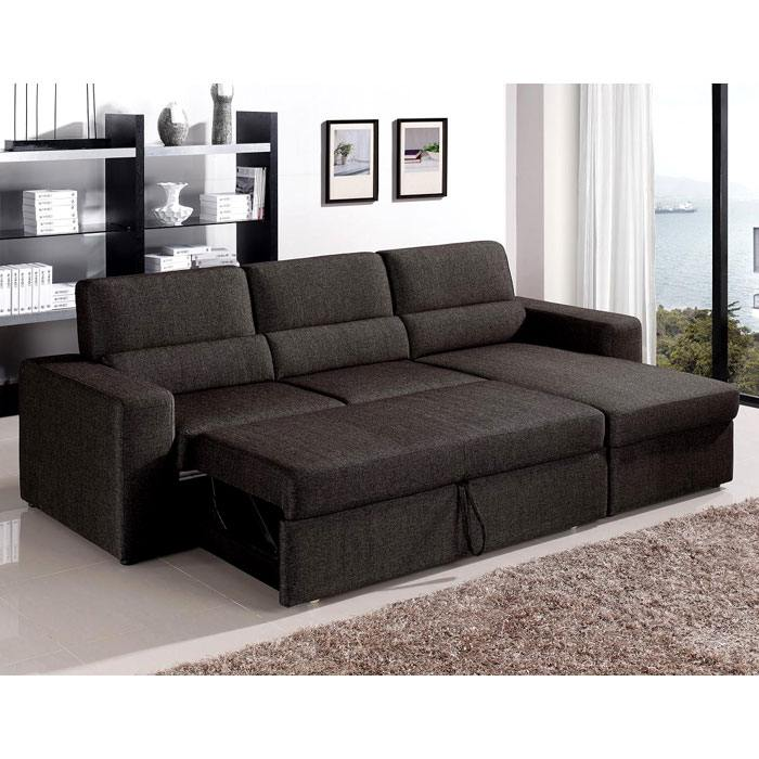 Piper Fabric Sectional Sofa Bed With Storage Chaise Futoncreations